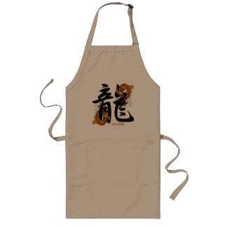 Kanji Koi Fish Dragon Long Apron