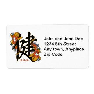 Kanji Koi Fish Health Label