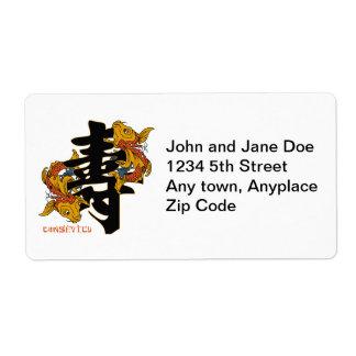 Kanji Koi Fish Longevity Label