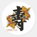 Kanji Koi Fish Longevity Round Stickers