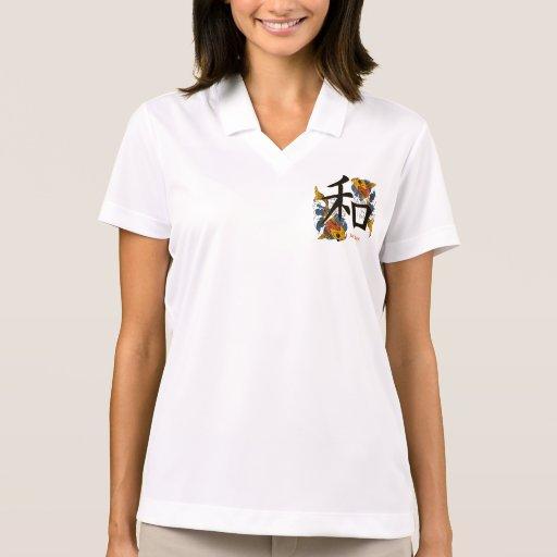 Kanji Koi Fish Peace Polo T-shirts