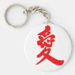 [Kanji] Love Basic Round Button Keychain brushed kanji