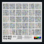 """Kanji Map Poster<br><div class=""""desc"""">Kanji wall map. 18067x17175px PNG rendered from SVG.</div>"""