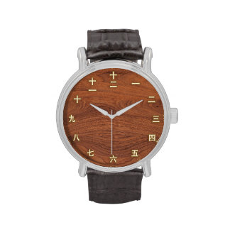 Kanji Numbers on Wood Wristwatches