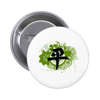 Kanji para la paz pin redondo de 2 pulgadas