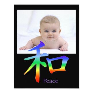 Kanji Peace Symbol in Chakra Colors Card