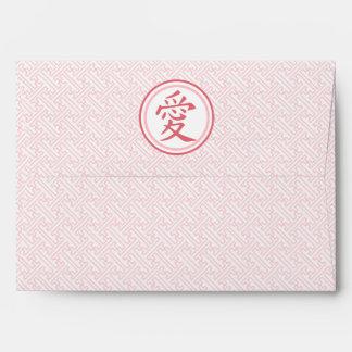 Kanji rosado precioso sobres
