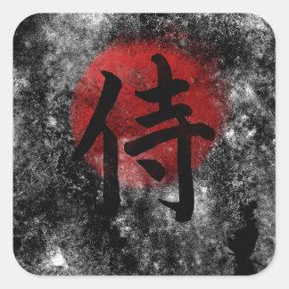 Kanji Samurai Grunge 2 Square Sticker