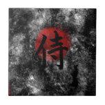 "Kanji Samurai Grunge 2 Tile<br><div class=""desc"">The Japanese Kanji script symbol for the word samurai against a red sun adds oriental flare to this heavily textured grunge-style artwork.</div>"