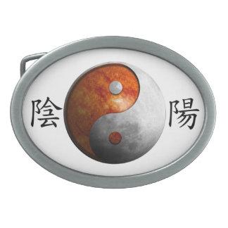 Kanji with Sun & Moon Yin Yang Oval Belt Buckle