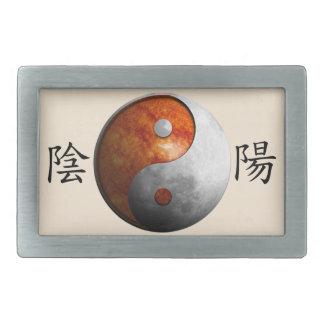 Kanji with Sun & Moon Yin Yang Rectangular Belt Buckle