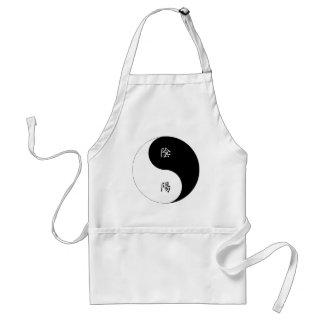 Kanji Yin Yang black n white Aprons