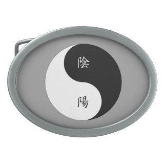 Kanji Yin Yang black n white Oval Belt Buckle