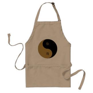 Kanji Yin Yang brown n black Aprons