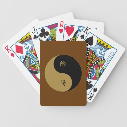 Kanji Yin Yang brown n black Bicycle Playing Cards
