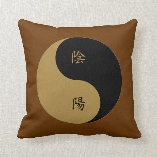 Kanji Yin Yang brown n black Pillows