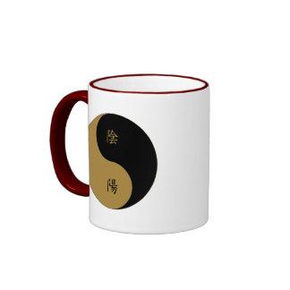 Kanji Yin Yang brown n black Ringer Mug