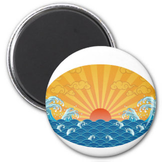 Kanjiz illustration : the rising sun and rough sea 2 inch round magnet