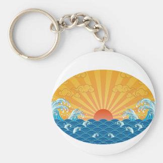 Kanjiz illustration : the rising sun and rough sea basic round button keychain