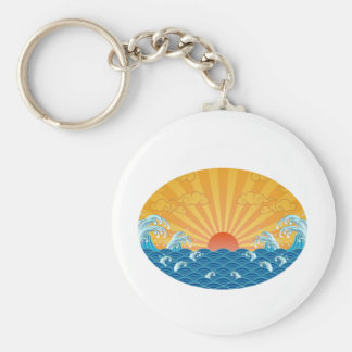 Kanjiz illustration : the rising sun and rough sea keychain