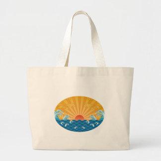 Kanjiz illustration : the rising sun and rough sea large tote bag