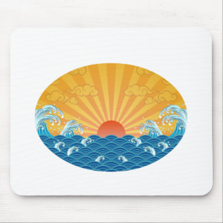 Kanjiz illustration : the rising sun and rough sea mouse pad