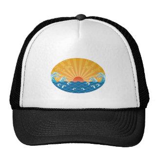Kanjiz illustration : the rising sun and rough sea trucker hat
