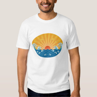 Kanjiz illustration : the rising sun and rough sea tshirt