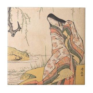 Kanjo A Court Lady Torii Kiyonaga japanese beauty Ceramic Tiles