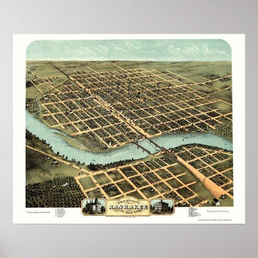 Kankakee, mapa panorámico de IL - 1869 Póster