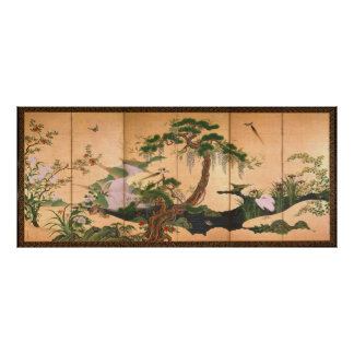 Kano Eino Birds and Flowers of Spring and Summer Poster
