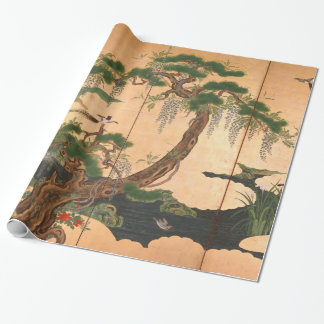 Kano Eino Birds and Flowers of Spring and Summer Wrapping Paper