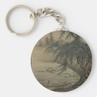 Kano Masanobu - Appreciating Lotuses Basic Round Button Keychain