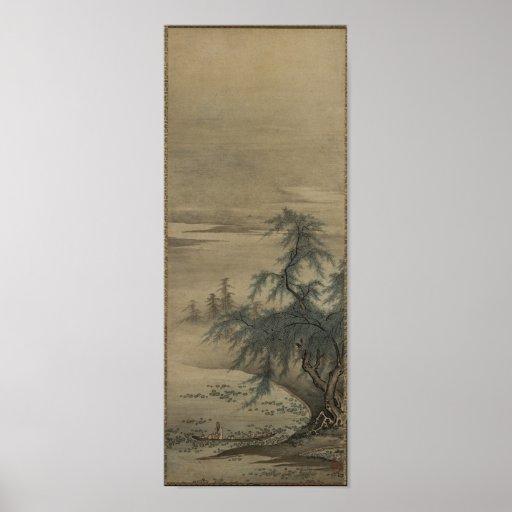 Kano Masanobu - Appreciating Lotuses Poster