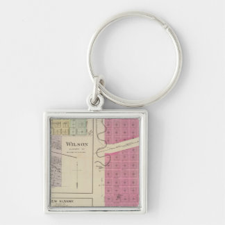 Kanopolis, Wilson, Guilford, New Albany, Kansas Silver-Colored Square Keychain
