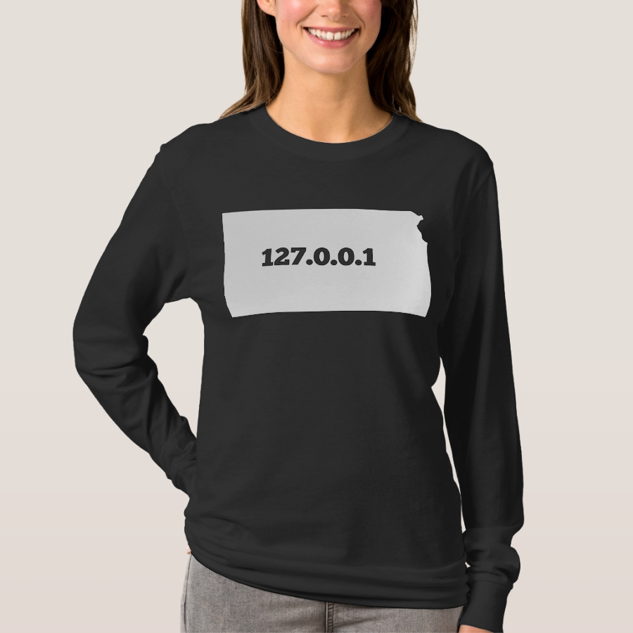 Kansas 127.0.0.1 Home Computer Nerd IP Address T-Shirt - Best Selling Long-Sleeve Street Fashion Shirt Designs