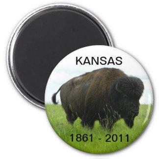 Kansas 1861 - 2011 2 inch round magnet