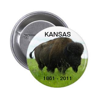 Kansas 1861 - 2011 pin redondo de 2 pulgadas