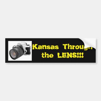 Kansas a través de la pegatina para el parachoques pegatina para auto