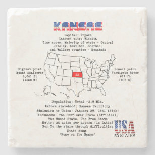 Kansas American state on a map and useful info Stone Coaster on south carolina on map, wisconsin on map, minnesota on map, lsu on map, alabama on map, notre dame on map, colorado on map, kansas highway, yale on map, tulsa on map, marquette on map, kansas state highlights, ks road map, texas a&m on map, kansas flag, virginia on map, california on map, georgia on map, washington on map, gonzaga on map,