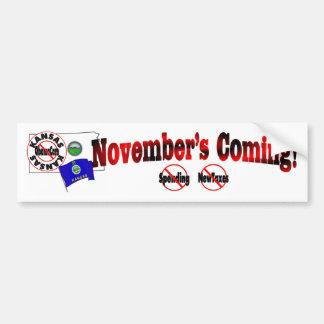 Kansas Anti ObamaCare – November's Coming! Bumper Sticker