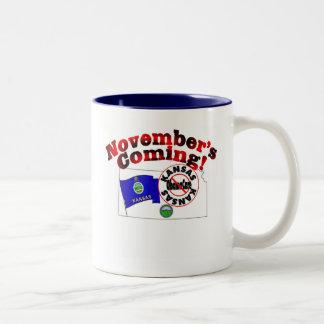 Kansas Anti ObamaCare – November's Coming! Two-Tone Coffee Mug