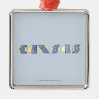 KANSAS (azul y oro) Adorno Navideño Cuadrado De Metal