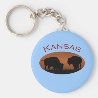 Kansas Basic Round Button Keychain
