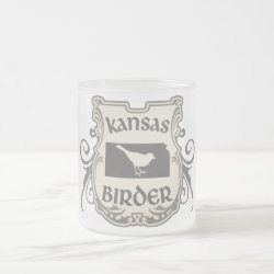 Frosted Glass Mug with Kansas Birder design
