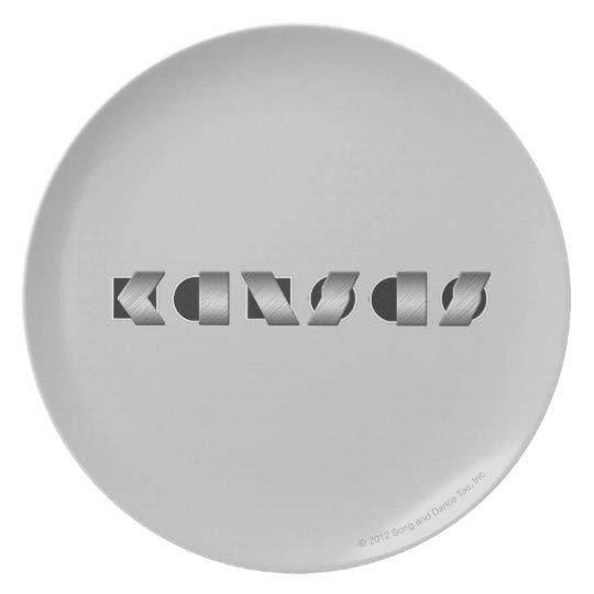 KANSAS Black and White Melamine Plate