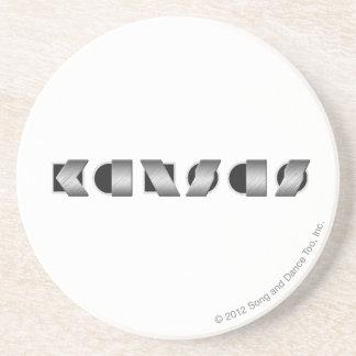 KANSAS Black and White Sandstone Coaster