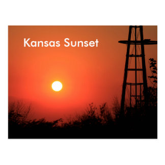 Kansas Blazing Red Sunset Post Card