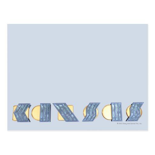 KANSAS (Blue and Gold) Postcard