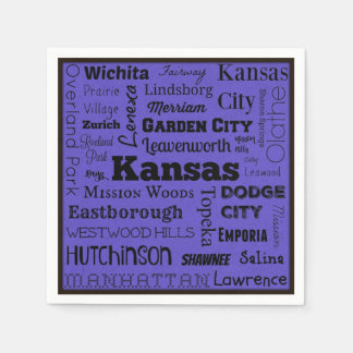 Kansas cities typography napkins